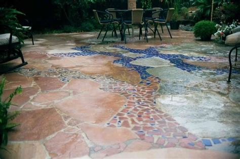 artistic flagstone patio with brick tile inlay yelp