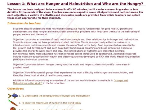 What Are Hunger And Malnutrition And Who Are The Hungry