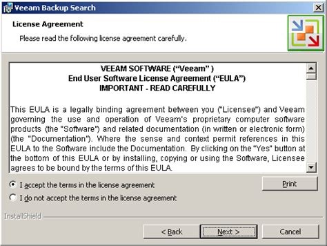 step  read  accept license agreement veeam backup