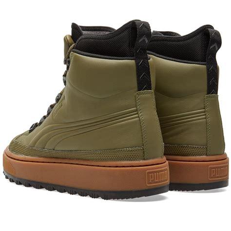 lyst puma  ren leather sneaker boots  green  men