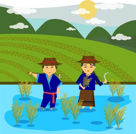asian farmers drawing design  rice field  vector