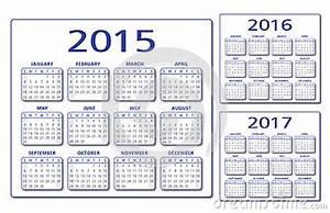 Vetor Inglês Do Calendário 201520162017 Ilustração do