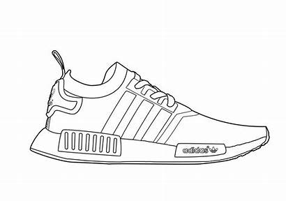 Nmd Drawing Adidas Coloring Yeezy Template Sneakers