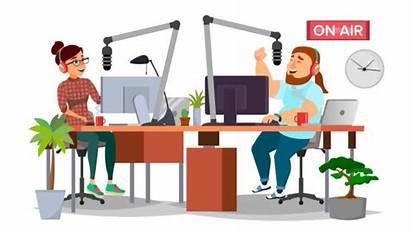 Radio Studio Dj Station Broadcasting Vector Host
