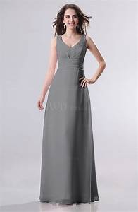Grey simple empire sleeveless zip up ruching wedding guest for Grey wedding guest dress