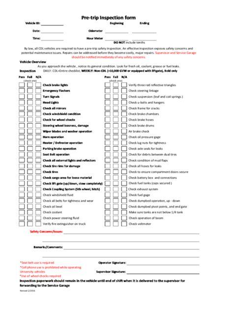 pre trip inspection form printable