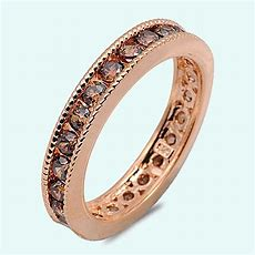 Rose Gold Chocolate Brown Cz Sterling Silver Wedding