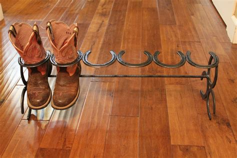 shoe boot rack welding ideas and crafts on railroad spikes