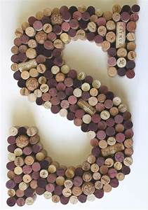 letter s wine cork wall art monogram wine cork by With cork letter wall decor