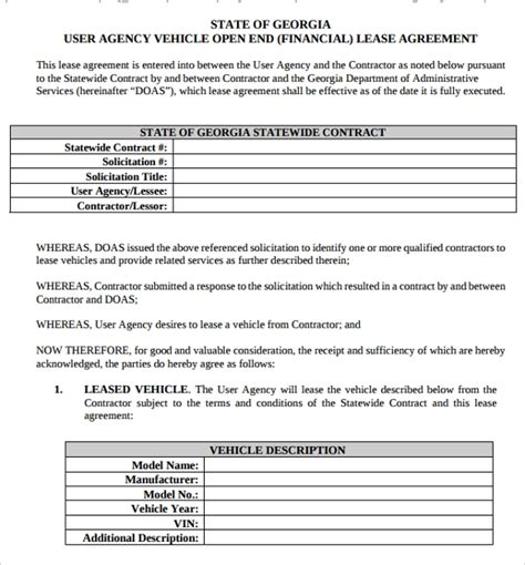 sample vehicle lease agreement templates
