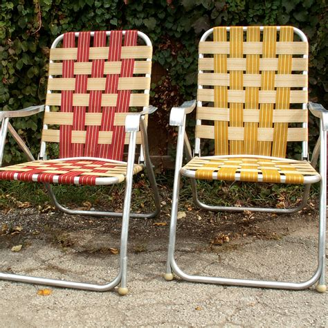 Vintage Webbed Lawn Chairs by Two High Back Webbed Lawn Chairs By Lookingforyesterday On