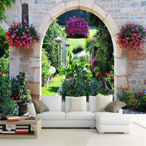 mediterranean garden photo mural wallpaper modern cafe