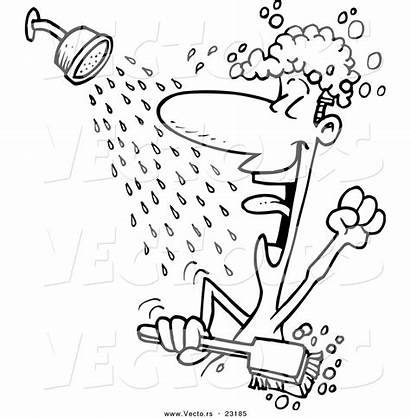 Shower Taking Cartoon Coloring Clipart Boy Outline