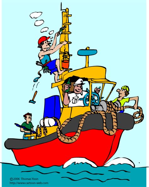 Management Boat Cartoon by Cartoon Web Services 187 Marine 4 Danger Tug