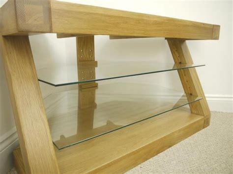 Solid Z Oak Corner Tv Unit With 2 Glass Shelves