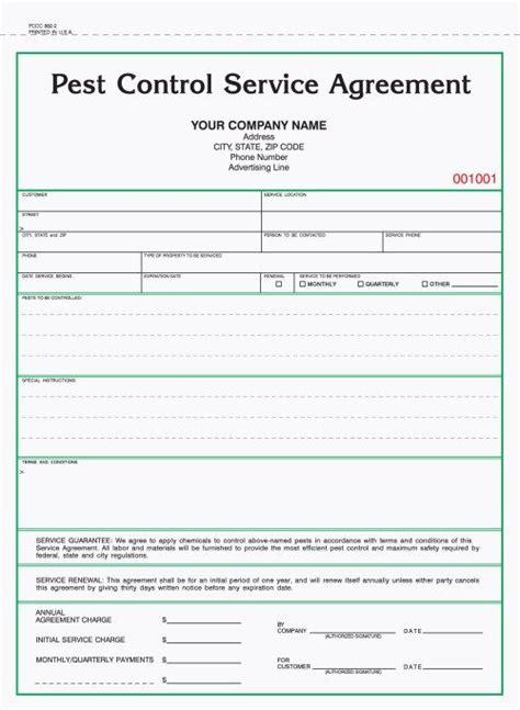 part pest control service agreement forms carbonless