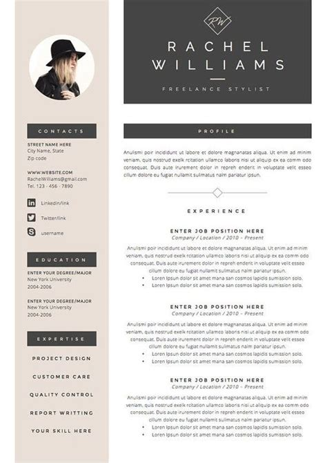 Digital Curriculum Vitae Templates by 4 Page Resume Cv Template Cover Letter For Ms Word Instant Digital The Quot Sultry