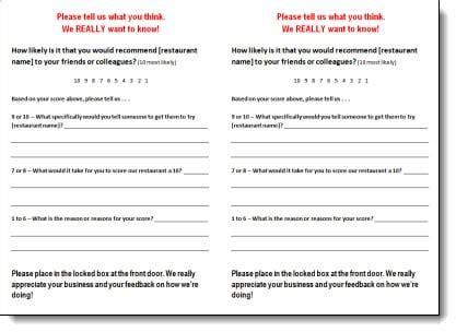 restaurant comment card templates  sample templates