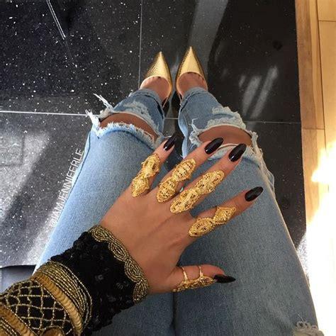 Jewels gold gold ring gold jewelry black black nails nail polish huge ring long rings ...