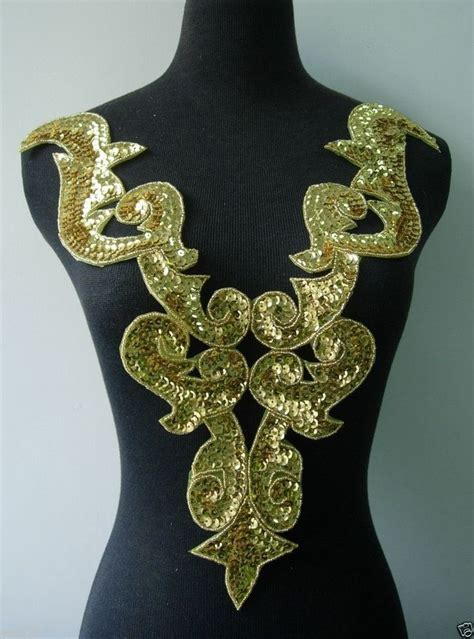 gold applique bd02 gold bodice sequin bead applique tutu belly