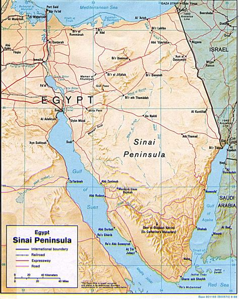 Detailed Relief Map Of Egypt Sinai Peninsula With Roads