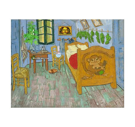 smoking growing weed bedroom  arles van gogh painting