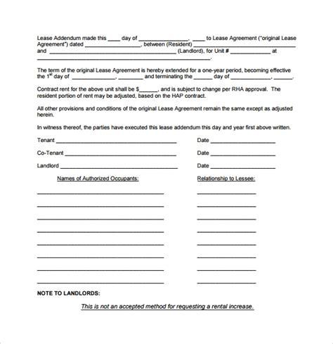 lease addendum forms     sample