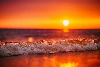 Sunset Waves Beach Wave Tilt Shift Sea