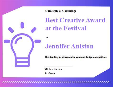 creative award certificate  creative award certificate templates