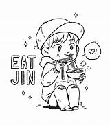 Bts Coloring Pages Bt21 Chibi Tumblr Jin Eating Books Noodle Colouring Print Clip Fanmade Been Fanart Project Printable Anime Princess sketch template