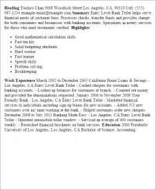 sle resume for bank teller entry level professional entry level bank teller templates to showcase your talent myperfectresume