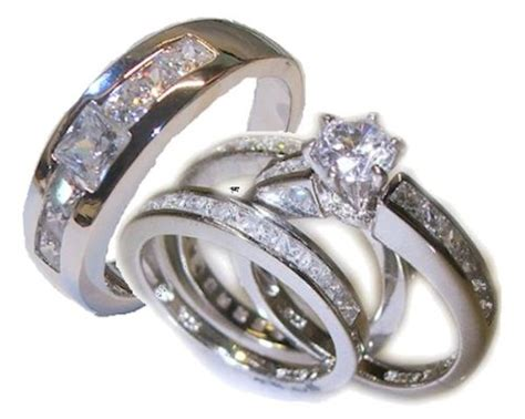 wedding ring sets for him and white gold his 4 wedding ring set white gold ep sterling womens 5 11 mens 9 13 whole half