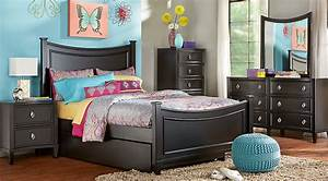 Jaclyn place black 5 pc twin panel bedroom teen bedroom for Teen bedroom sets