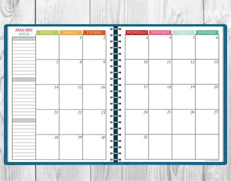 printable multi color  monthly calendar  page spread