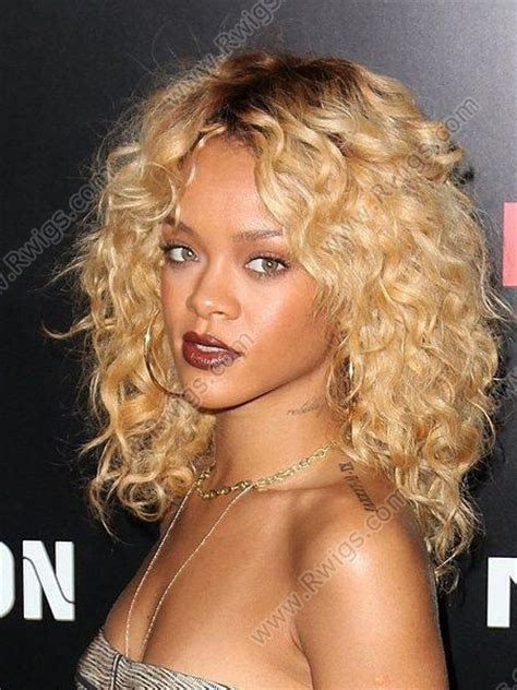 custom rihanna hairstyle  color blonde curly lace wigs