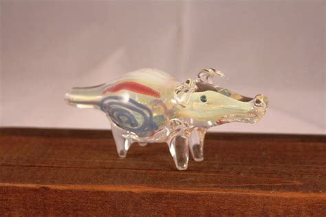 Hand Made Pig Colorful Design Blue White Set In Opaque