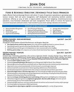 food beverage manager resume example restaurant bar With sample resume for food and beverage supervisor