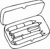Pencil Box Clipart Case Coloring Cliparts Clip Library sketch template