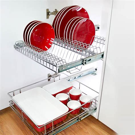 stainless steel pull  plate rack  kitchen cabinets tansel