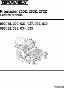 Gravely 260z Service Manual 09254300a