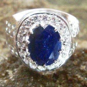 cincin silver 925 retro vintage dengan safir biru 8 5us