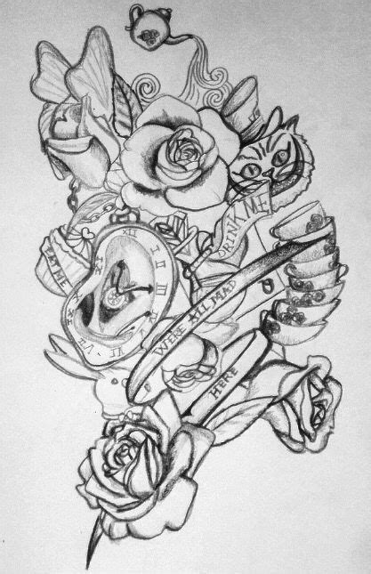 My drawing for Alice in wonderland tattoos | Tattoo ideas