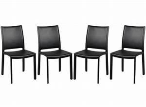 chaises par lot de 4 en pvc noir With tapis peau de vache avec canapé pas cher paiement 4 fois
