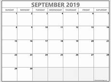 September 2019 blank calendar collection