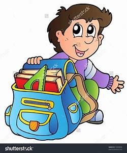 Boy getting ready for school clipart