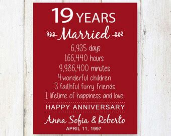 19th wedding anniversary 19th wedding gift etsy