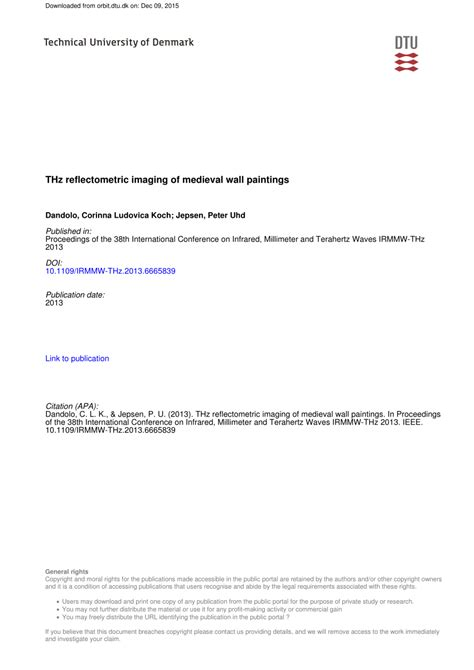 (PDF) THz reflectometric imaging of medieval wall paintings