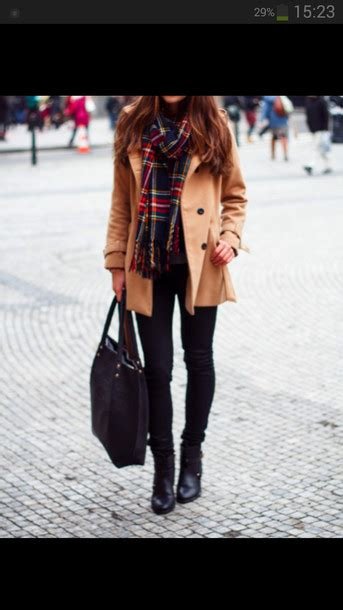 Jeans scarf jacket trench coat coat brown beige beige jacket winter outfits flannel ...
