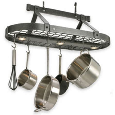 kitchen pot hanging rack with lights pot racks at kitchen accessories unlimited 9530