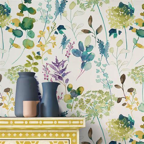 botanical wallpaper  floral wallpaper bluebellgray